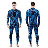 Grneric Homruilink Men's Spearfishing Wetsuits,3MM Camouflage One Piece Neoprene Diving Suit/Two-Pieces Hooded Snorkeling Suit for Freediving Snorkeling Swimming Full Wetsuit