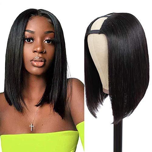 Aisaide U Part Bob Wigs Short Straight Bob Wigs For Black Women 12 inch Brazilian Glueless Hair Short Bob Synthetic U Part Wigs Clip in U Part Half Wig U Shape Wigs Short Bob Hair Wigs Natural Color (1B#)