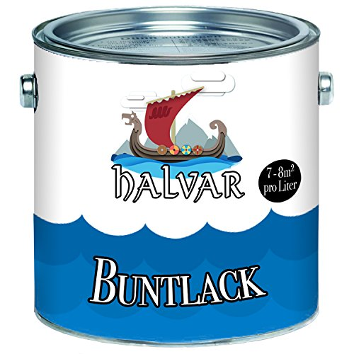 Halvar Buntlack skandinavischer Farb-Anstrich für Holz und Metall -farbliche Gestaltung - wirkt schützend! (1 L, Lichtblau (RAL 5012))