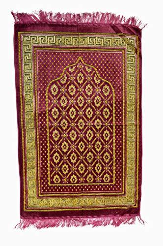 Gebetsteppich / Islamischer Teppich für unterwegs Muster Namaz Seccade muslimische Männer, Frauen und Kinder (Bordeaux)
