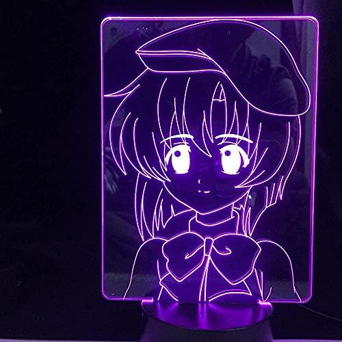 Lámpara de anime 3D Luz de noche Ilusión Luz de la escuela secundaria DXD LED para decoración del hogar Regalo de cumpleaños Manga Noche Rias Gremory High School DXD TOUCK-Control remoto