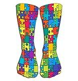 heefan Calze per donna e uomo - Ideale per corsa, sport atletici, Crossfit, viaggio aereo Puzzle con contorno a colori da 50 cm