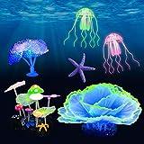 Beisela Juego de decoración para peceras de acuario con efecto brillante para accesorios de peces betta, con setas, medusas, planta de coral, estrellas de mar