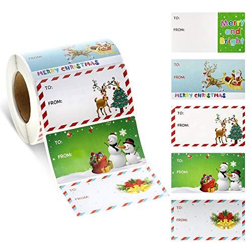 3 inch Christmas Gift Tags Self-Adhesive 500 PCS Christmas Labels Stickers Santa Snowmen Xmas Tree Deer Festival Birthday Wedding Holiday Decorative Presents Labels Decals Christmas Gift for Friends