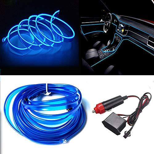 Balabaxer Blau El Wires Car Kit,5M Flexible Neon EL Draht für Autos DC 12V Neonatmosphäre Glühendes Elektrolumineszenzlicht Glühendes Neonlicht