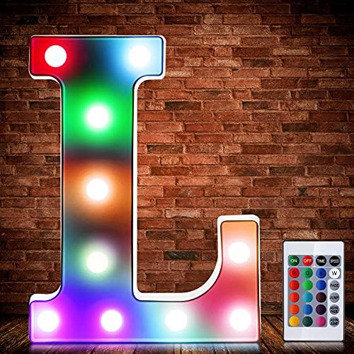 Luces de Símbolo de Número Letra Alfabeto LED Iluminado Colorido con Interruptor de Control Remoto Inalámbrico Lámpara Decorativa de Corazón para Boda San Valentín Navidad (Letra L)