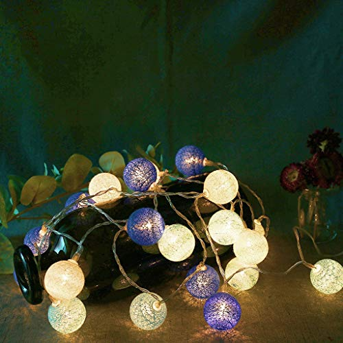 Moent Kreative Wattebausch-Lichterketten 20 Led Cotton Fairy-Lichterketten Home Decor, Funktion Europäischer Standard Head-Up-Baumwoll-Lichterkettenlampe Sepak Takraw Lampe