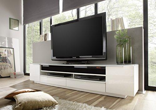Dreams4Home TV-Media Element 'Modena' Hochglanz weiß, Lowboard, TV Schrank, Media Lowboard, Wohnzimmer, mit Glasplatte, Breite 196 cm, Bluetooth, Main Speaker