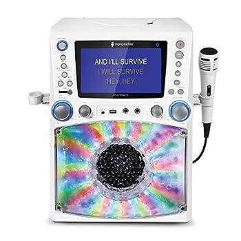 Singing Machine STVG785BTW Bluetooth Karaoke Machine with Disco Lights WHITE.