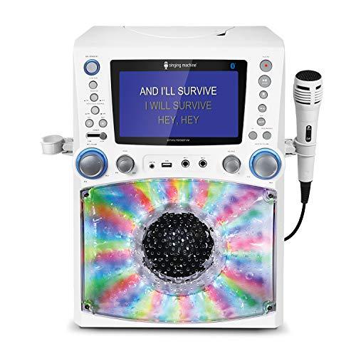 Singing Machine STVG785BTW Bluetooth Karaoke Machine with Disco Lights, WHITE.