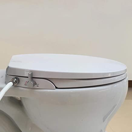 Hibbent Non Electric Mechanical Toilet Bidet Seat with Dual Nozzle Adjustable Water Pressure Self Cleaning - Combined Toilet Bidet - (Fit for Round Bowl)- AU108