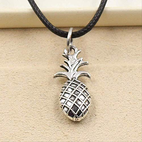 NC110 Necklace Tibetan Silver Color Pendant Pineapple Necklace Choker Charm Black Leather Cord Handcrafted Jewelry