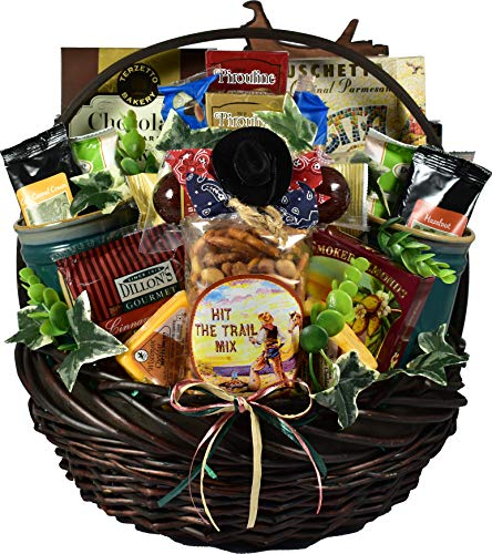 Gift Basket Village Horse Play, Equestrian Themed Gift Baskets For Horse Lovers with Two Mugs, Detailed Photo Frame, Savory Meat and Cheese, Decadent Sweets and More...