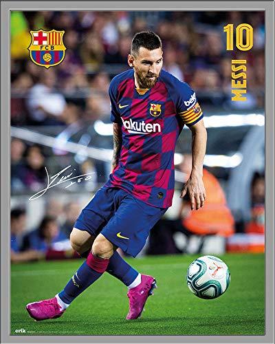 FC Barcelona - Messi 19/20 - Fußball Poster Plakat Druck - Größe 40x50 cm + Wechselrahmen, Shinsuke® Maxi Kunststoff Silber, Acryl-Scheibe