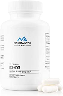 Vitamins K2 with D3 Dietary Supplement: 100 Mcg of Vitamin K 2 (MK7) and 5000 IU of D 3 with BioPerine Black Pepper Extract, Calcium - Vegan Supplements for Heart, Bone, Immune Support - 60 Capsules