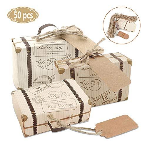 50 Pack Vintage Kraft Favor Box Candy Gift Bag for...