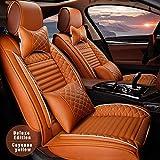 8X-SPEED Auto Delantero Fundas Asientos para Volvo S40 S60 S70 S80 S90 Artificial Cuero Cubreasientos de Asientos (with Headrest and Waistrest) Protectores Airbag Compatible,Amarillo Cayena