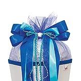 ROTH Schultütenschleife Blue Dabadu - fertig gebunden ca. 50 x 23 cm - Schulanfang-Schleife