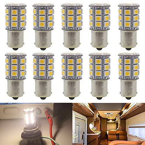 12V low voltage led light bulb BA15S 1156 1141 1073 5008 P21W 93 replacement for RV trailer camper motorhome landscape bulbs 2.5W 330lm equivalent 30-35W halogen bulb WarmWhite 3000K pack of 4