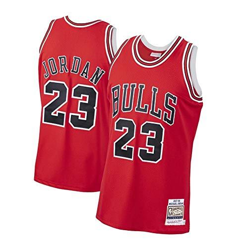 EBDC Michael Jordan Chicago Bulls 23# Herren-Basketballtrikot, Unisex Retro ärmelloses Besticktes Basketball-Oberteil, Sport-Sportweste Schweißableitend schnell trocknend-red-XL(182~187cm)