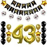 43rd Birthday Decorations Party Supplies Happy 43rd Birthday Confetti Balloons Banner and 43 Number Sets for 43 Years Old Party(Gold)