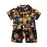 BUKINIE 2 pièces Set Ensemble de vêtements pour bébés garçons Shorts Set Tenue hawaïenne Hawaii Aloha Chemise à Manches Courtes et Shorts Costumes(Or,3-4 Ans)