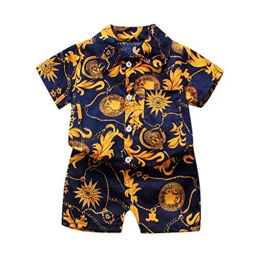 Fenverk Baby Jungen Bekleidung Set Festliche Kleidung Baumwollmischung Hemd Hose Taufanzug Gentleman Anzug Fliege Kinderbekleidung(I#Gold,100)
