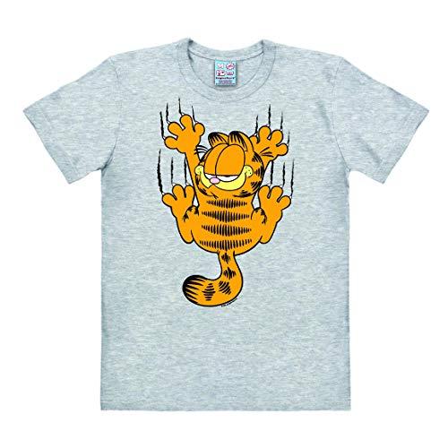 Logoshirt - Comics - Kater - Garfield - Kratzen - T-Shirt Herren - grau-meliert - Lizenziertes Originaldesign, Größe XL