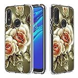Nadoli Cover Transparent per Huawei Y6 2019,Creativo Rosa Fiore Carta e Difficile PC + Morbido Tpu 3 Strato Chiaro Antiurto AntiGraffio Protettivo Custodia
