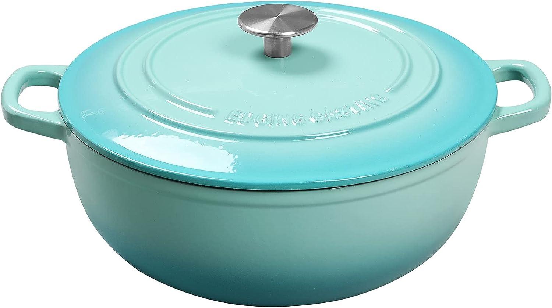 Enameled Cast Iron Dutch Oven, EDGING CASTING 3.5 Quart Enameled Cookware Pot, Suitable For Bread Baking, Peacock Blue