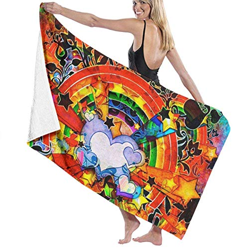 Gebrb Duschtücher/Badetücher,Strandtücher, Microfiber Travel & Beach Towel,Camping Towel, Gym Towel, Sports Towel, Swimming Towel - Valentines Day Rainbow Love Print 31x51 Inches