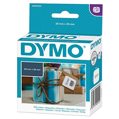 Dymo LW-multifunctionele etiketten 1 rollen met elk 750 25 x 25 mm wit