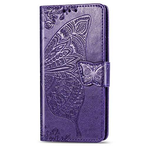 Nadoli Leder Hülle für Xiaomi Mi 11 Lite,Retro Schmetterling Blumen Muster Kunstleder Trageschlaufe Ständer Handyhülle Schutzhülle,Lila