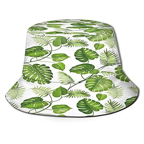 Brazilian Rainforest Foliage Nature Ivy Swirls Palm Banana Trees Leaves Art Print Decorative Unisex Bucket Hat Sun Hats Beach Hat Breathable Packable Black