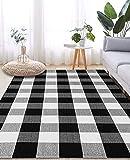LHLJOYU Buffalo Plaid Rug Black and White Check Rugs Extra Large 5' x 7' Machine Washable Carpet Retro Lattice Checkered Outdoor Rug for Living Room Dining Room Bedroom Farmhouse(Plaid, 5' x 7')