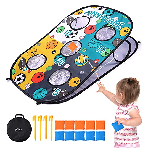 Bean Bag Toss Game for Kids, Collapsible Portable 5 Corn Holes Double Sided...