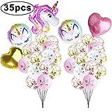 Mukum Lot de 35 Ballons pour confettis Licornes
