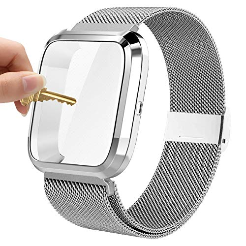 Maxjoy Compatible with Fitbit Versa Bands, Versa 2 Stainless Steel Metal Band Magnetic Mesh Replacement Bracelet Magnet Wristband with Protective Case Compatible with Fitbit Versa 2 1 Watch, Silver