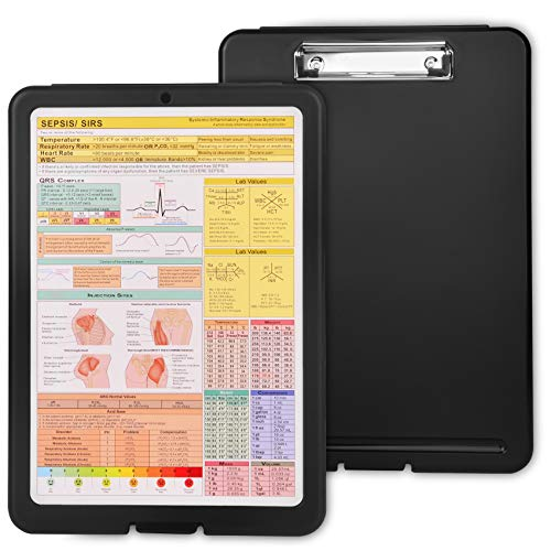 Nursing Clipboard-Storage Clipboard with Cheat Sheet-Clipboard for Doctors, Nurses, Medical Students- Durable Lightweight Plastic Clipboard-Holds 150 Paper–Nursing Edition