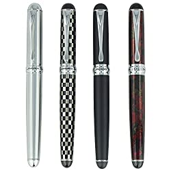top 10 jinhao fountain pen 2 Jinhao X750 4 fountain pen set, 4 colors (black, red, silver, checkered pattern), medium-sized ink pen …