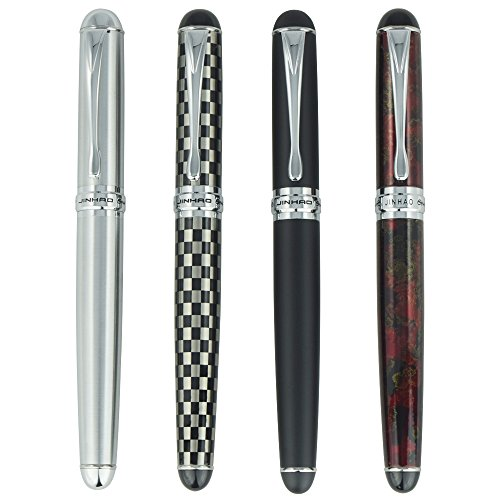 4 PCS Jinhao X750 Fountain Pen Set, 4 Colors (Black, Red, Silver, Checked), Medium Nib With Ink Converter, Silver Trim, Gift Box