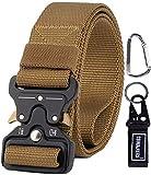 CoWalkers Cinturón táctico de, Estilo Militar Correa de Cintura de Nylon de Alta Resistencia Cinturón de Servicio Pesado con Hebilla de Metal de liberación rápida para Hombres y Mujeres (Marrón)