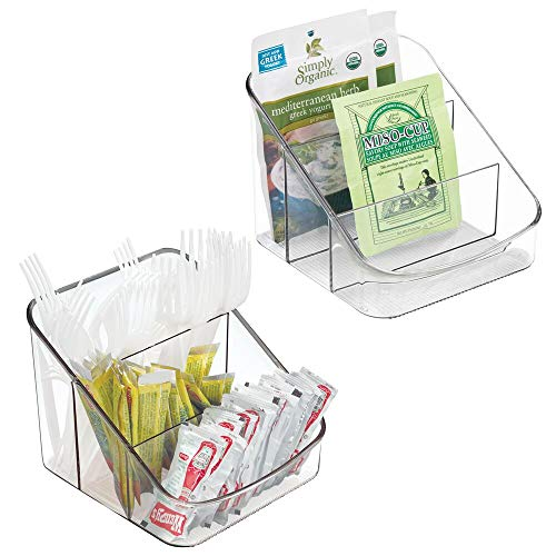 mDesign Small Plastic Food Packet Organizer Caddy - Storage Station for Kitchen, Pantry, Cabinet, Countertop - Holds Spice Pouches, Dressing Mixes, Hot Chocolate, Tea, Sugar Packets - 2 Pack - Clear