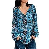Wtouhe Damen-T-Shirt, langärmlig, lässig, für Herbst und Winter Gr. Large, blau