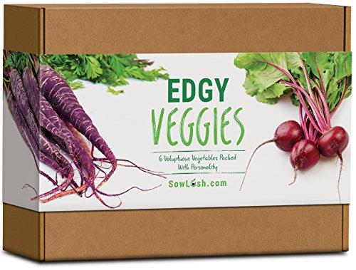 Edgy Veggies Kit de graines 6 légumes voluptueux emballés avec de la personnalité. Facile à pousser.