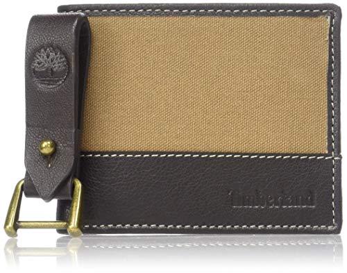 Timberland Men's Canvas & Leather Billfold Gift Set,khaki,One Size