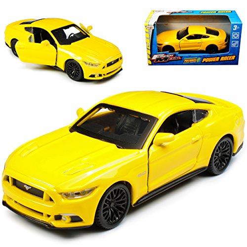 Maisto Ford Mustang VI Coupe Gelb Ab 2014 1/43 Modell Auto mit individiuellem Wunschkennzeichen
