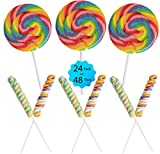 24 Swirl Lollipops Rainbow Variety Pack | 12 Twisty Pops and 12 Large Swirl Suckers 3' Diameter- Individually Wrapped, Great Summer Beach Party, Birthday Favors
