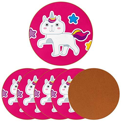 Posavasos redondos de 6 piezas – Posavasos decorativos para tipos de tazas y tazas lindo gato de dibujos animados