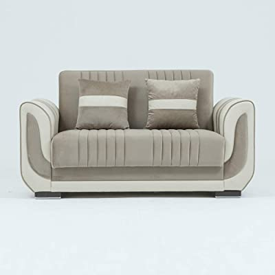 Danube Home Damian 2 Seater Fabric Sofa - Beige/Brown